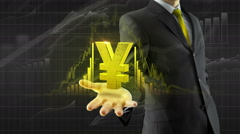 Business man hold yen yuan on hand - stock footage