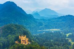 Bavarian Hohenschwangau Castle view - stock photo