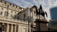 Pan from Bank of England to Royal Exchange Stock Footage