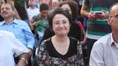 Arab Israeli Member of Knesset Haneen Zoabi, also Hanin Zoubi, a Muslim woman Stock Footage
