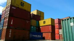 Container Freight Station Pan of Boxes [multi coloured and branded] Stock Footage
