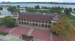 Aerial view of Historic building on Belle Isle of Detroit Stock Footage
