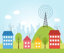 Illustration of wireless signal - stock illustration
