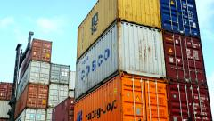 Container Freight Station MSC Cosco and Hapag Lloyd Boxes visible Stock Footage