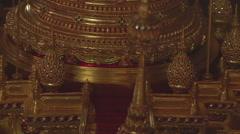 Golden decorations in the monastery, Myanmar. Stock Footage