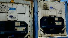 Container Freight Station Reefer Containers Close up - stock footage