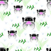 Stock Illustration of Seamless of emperor tamarin portrait on white background with green branches