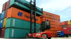Container Freight Station - Stacker with Dong Feng - stock footage