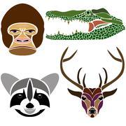 Portraits of various wild animals: gorilla, crocodile, raccoon and deer Stock Illustration