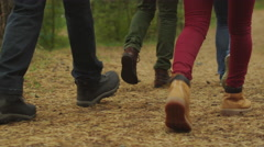 Group of people in close-up leg shot walk in the forest in autumn - stock footage
