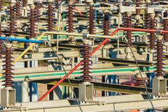 Close up of an electricity distribution station - stock photo
