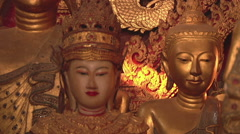 Golden Buddha statues in the monastery, Myanmar. Stock Footage