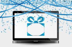 celebration image with laptop - stock illustration