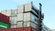 Stock Video Footage of Container Freight Station Maersk being stacked on others