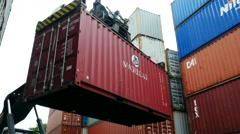 Container Freight Station with Stacker and Magellen Box Stock Footage