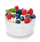 Dessert with yogurt and fresh berries isolated. Dietary breakfast. Stock Photos