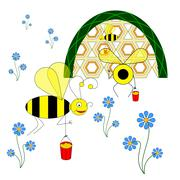 Funny bees collect nectar from flowers and carry it to the hive Stock Illustration
