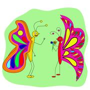 Two butterfly lovers talk Stock Illustration