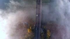Drone flight over the misty bridge 4K, Skandinavia Stock Footage