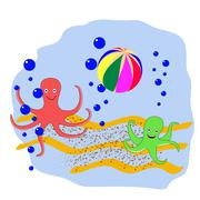 Two octopus playing the ball at the bottom of the sea - stock illustration