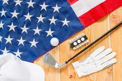 Shot from top of golf equipment closeup Stock Photos
