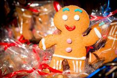 Christmas gingerbread man cheery photograph closeup Stock Photos