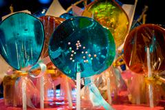 Lollipops different colors in the pack close up Stock Photos