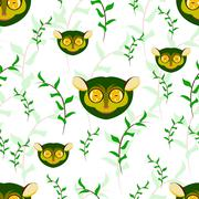 Seamless of tarsier portrait on white background with green leaves on branche - stock illustration