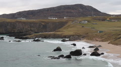 Elevated view of Durness and Sango Bay Scotland Stock Footage