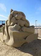 Sand sculptures of Fergus Mulvany on the beach in Zandvoort Stock Photos