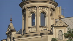 Close up view of a building with many windows in Prague Stock Footage