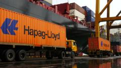 Port with Hapag Lloyd Container moving Stock Footage