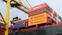 Port - Containers on a ship Stock Footage
