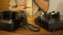 Office clrek - man hands gestures while speaking on telephone Stock Footage