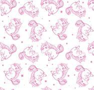 Hand drawn fantasy cartoon unicorn, seamless doodle. - stock illustration