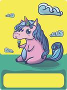 Hand drawn fantasy cartoon unicorn, cute doodle. - stock illustration