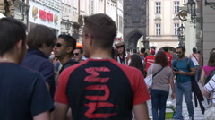 Many tourists walking on Celetná street in Prague Stock Footage