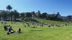 Mission Dolores Park Day Establishing Shot  	 Stock Footage