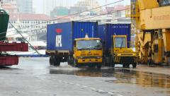 Busy Marine Port - APL Container Movement Stock Footage