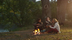 Group of men and women sit in a forest next to a campfire and communicate - stock footage