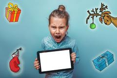 Christmas girl teen Keep your tablet shouts sketch deer gifts new year mitten - stock photo