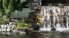 Garden waterfall and pond Stock Footage