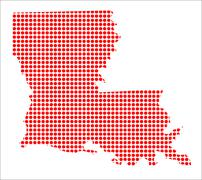 Red Dot Map of Louisiana - stock illustration