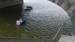 Two boats floating under the Bridge of Legions (Legion Bridge), Prague Stock Footage