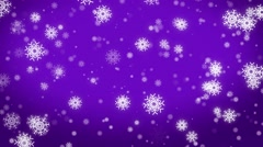 4k christmas motion background, snowfall with white snow flakes purple Stock Footage