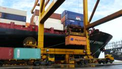 Port Container Movement with cranes Stock Footage
