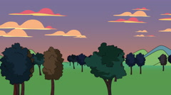 Cartoon animation of trees in a field - stock footage