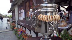 Russian samovar with bagels dolly slow motion Stock Footage