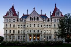 State Capitol of New York, Albany after sunset Stock Photos