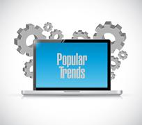 popular trends laptop sign concept - stock illustration
